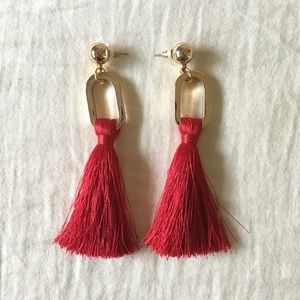 Saks Fifth Avenue Red Gold Holiday Tassel Earrings